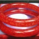 Rare Asian a pair of Chinese red jade bracelets
