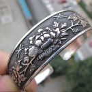 China Tibetan silver sculpture peony bracelet (A114)
