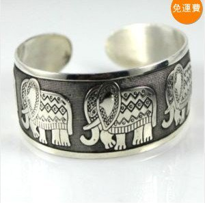 China Tibetan sculpture auspicious elephant silver bracelet (A118)