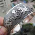 Rare Tibetan silver sculpture 12 Chinese zodiac signs bracelet (A123)
