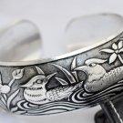 Rare Tibetan silver sculpture garden bracelet (A124)