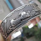 Rare Tibetan carved bird lovers yuanyang silver bracelet (A125)
