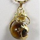 Manual sculpture elegant natural HuangHu eye stone necklace pendant (B125)