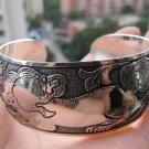 Rare Tibetan carved lions silver bracelet (A126)