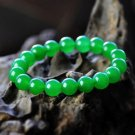 Natural exquisite 10 mm halcyon green bracelet (A130)