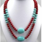 Charming Chinese Tibet turquoise necklace coral (X16)