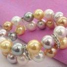 Color 10 mm pearl double row set auger bracelet (A134)