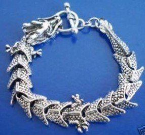 Beautiful magic dragon Tibet charms, silver bracelet (A134)