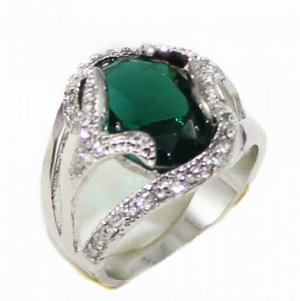 The beauty of the 10 by 14 mm green gem ring female ring 7 # 8 # 9 # 10 # (J6)