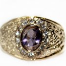 6 * 8 mm oval purple with precious stones and set up the diamond (J11)