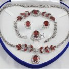 Charming red gem and diamond jewelry inlaid female suit (T3)