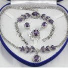 Attractive purple gems and diamond jewelry inlaid female suit (T4)