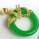 Green jade dragon necklace pendant *00