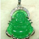 Green jade Buddha pendant + chain