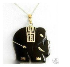 Black jade elephants act the role of article to hang/necklace