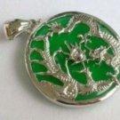 Green jade dragon and phoenix jewelry necklace pendant