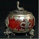 Tibet rare silver red jade statue snake censer (A4)