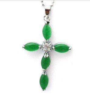 Beautiful green jade jade drop Christ cross