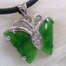 925 green jade pendant with silver butterfly (P134)