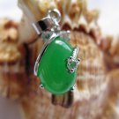 Green jade pendant with 925 silver (P135)