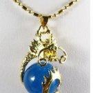 Blue jade carving dragon pendant necklaces( P143)