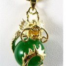 Green jade carving dragon pendant necklaces (P145)