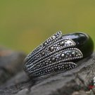 Thai silver inlaid black jade herself in the ring (J201)