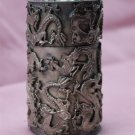 Tibetan silver dragon carving tea box of cylindrical (X-49)