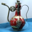 Tibetan silver dragon carving red CiHu (H-1)