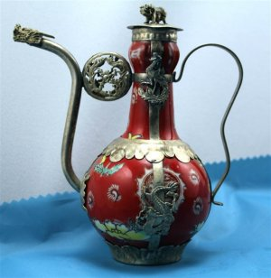 Tibetan silver dragon carving red CiHu (H-1)