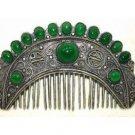 Tibet silver green jade beads comb