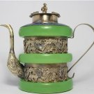 China's Tibet by old jade teapot silver dragon (B112)
