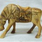 Wonderful manual ox bone graven lifelike horse statue (B118)
