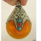 tibet silver Beeswax turquoise coral pendant(B3346)