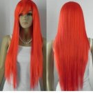 "New WOMEN""S RED LONG STRAIGHT FULL cosplay WIG"