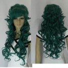 ##4 new green long curly full wig