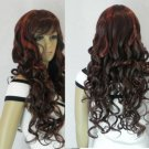 ##2 new red brown mixed long curly full wig