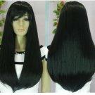 Fashion long black straight hair wig