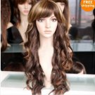 fashion long brown mixed hair curly wig / wigs