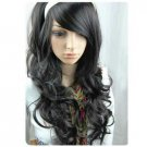 The new fashion long black hair curly wig
