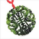 Natural jade pendant ChengXiang hollow out ink dragon carving