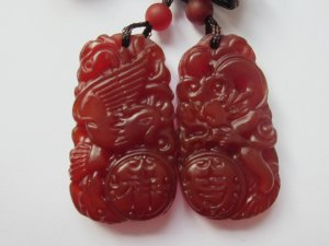 Natural ruby pulp pendant sculpture lovers of dragon and phoenix