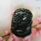 Manual sculpture green ink jade fish charms necklace pendant