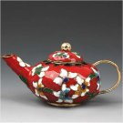 Nice Chinese Cloisonne Enamel Teapot  Ornament red