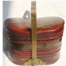 Vintage Chinese red leather wood flower &birds lunch box