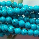 8mm Round Howlite blue turquoise gemstone beads 30""