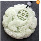 White Green Jade Xi Happy Phoenix Amulet Pendant