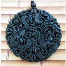 Black Green Jade Dragon Phoenix Coin Ruyi As One Wishes Amulet Pendant
