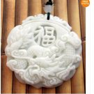 White Green Jade Dragon Fu Good Fortune Pendant