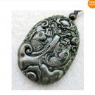 Black Green Jade Sea Dragon King Two Fish Amulet Pendant